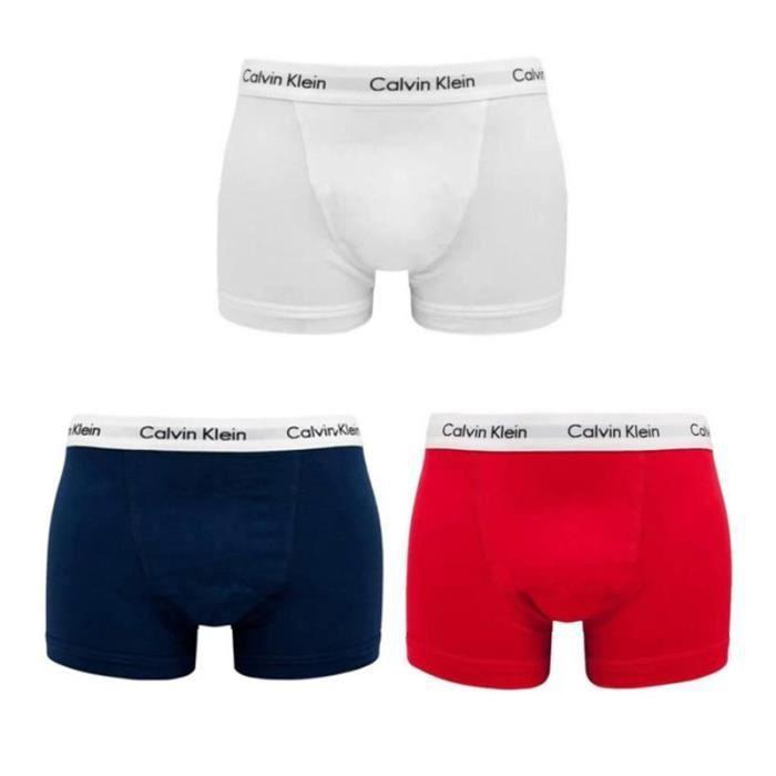 Homme CALVIN KLEIN Trunks Coton Pack de 3 Boxers Blanc Rouge Bleu marine
