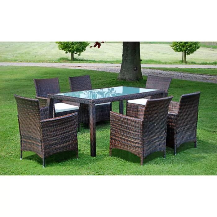 Luxueux Magnifique Moderne-Mobilier à dîner-Salon jardin 7 pcs et coussins Résine tressée Marron
