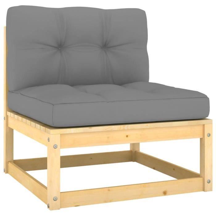 3416SOLDES- Canapé central de jardin-banquette de jardin-Canapé d'Extérieur-Salon de jardin avec coussins gris Bois de pin massif