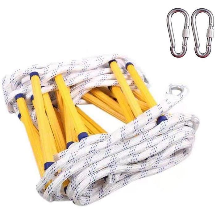 15M Échelle s'échapper,2 crochets pour Échelle de Corde Sécurité de Sauvetage,,cadre en résine jaune,Capacité De 420 Kg