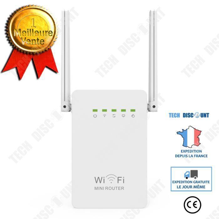 TD® Répéteur sans fil 300M double antenne double port réseau amplificateur de signal WIFI amplificateur de routage prolongateur