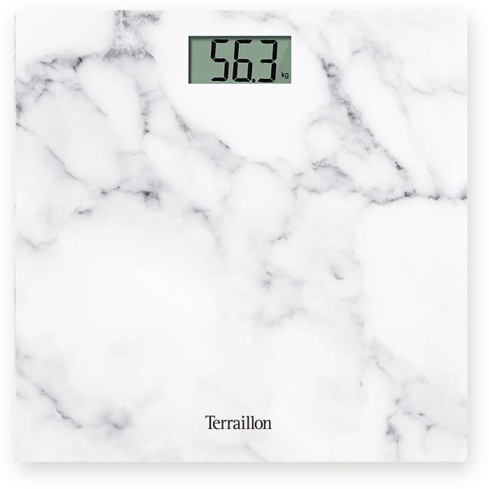 TERRAILLON 14499 Pèse-personne ultra compact POCKET - Format tablette - capacité 150 kg - Plateau verre impression marbre