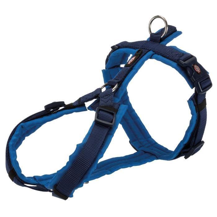 TRIXIE Harnais trekking Premium - XL: 80-97 cm/25 mm - Indigo et bleu royal - Pour chien