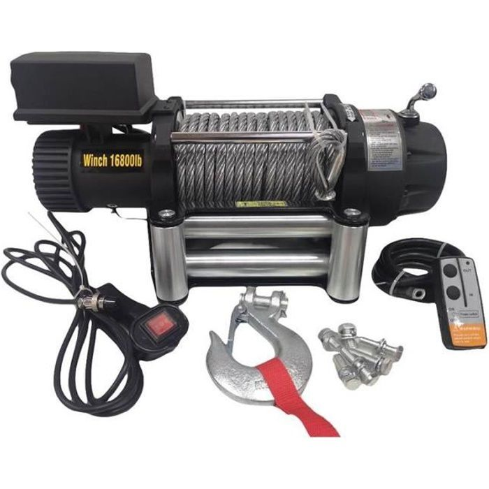 Varan Motors - SC16-8X-2 Treuil électrique 12V 7620KG 4500W, Treuil à câble longueur 26m Ø11mm