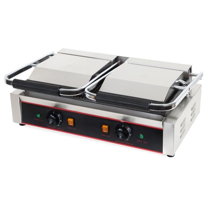 Vertes 3600 W Double Grill de Contact (300 °C Température, Rainure sur les deux Côtés, Collecteur de graisse, Pieds en caoutchouc)