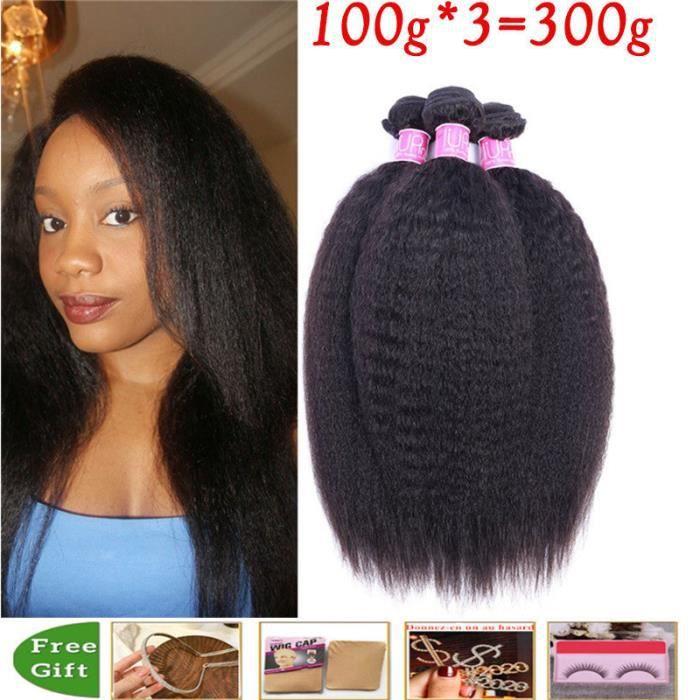 12pouces 3 Tissage Cheveux Naturels Bouclé Kinky Straight Yaki Human Hair
