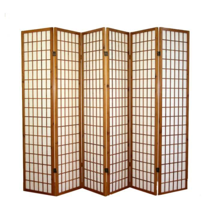 PARAVENT Paravent japonais Shoji en bois brun foncé de 6…