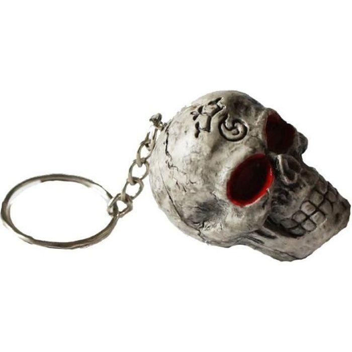 Porte-Clefs Tête de Mort Gothique Crâne Porte-Clés
