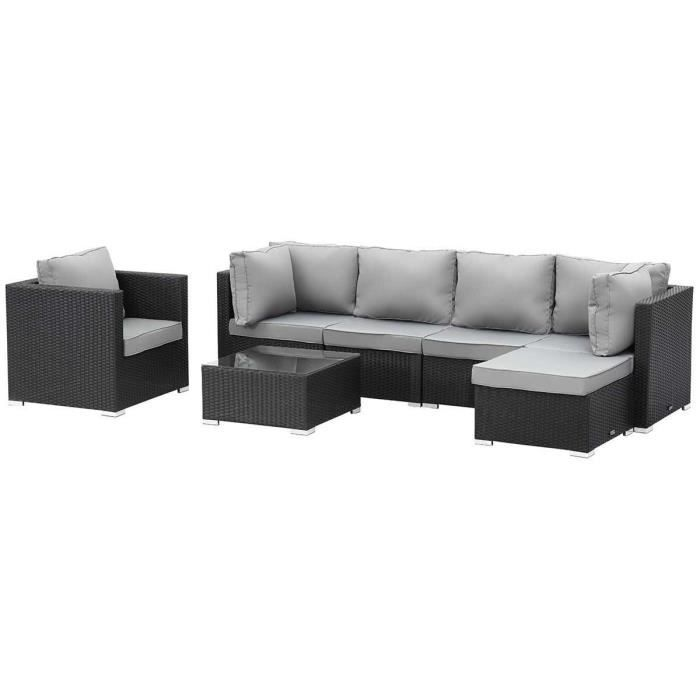 Salon de jardin modulable en r sine tress e boston luxe atlanta noir ac - Salon de jardin a prix discount ...