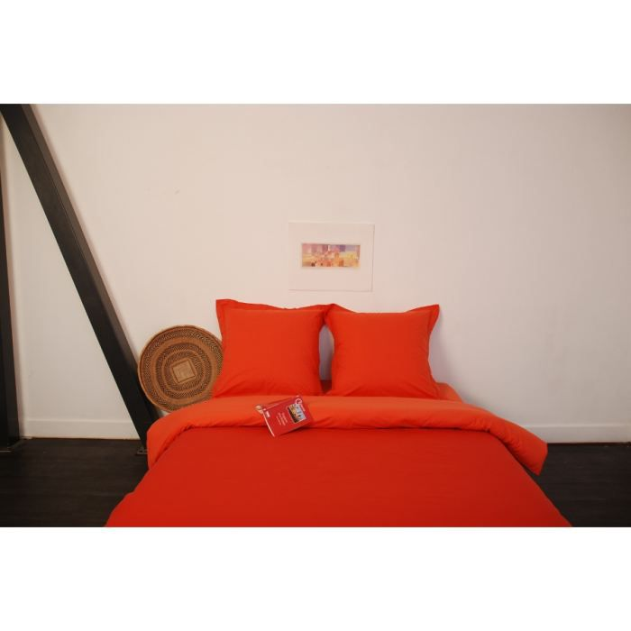 parure housse de couette orange rouge 200x200 achat. Black Bedroom Furniture Sets. Home Design Ideas