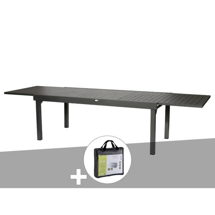 Table Extensible Rectangulaire Alu Piazza 10 12 Places Graphite
