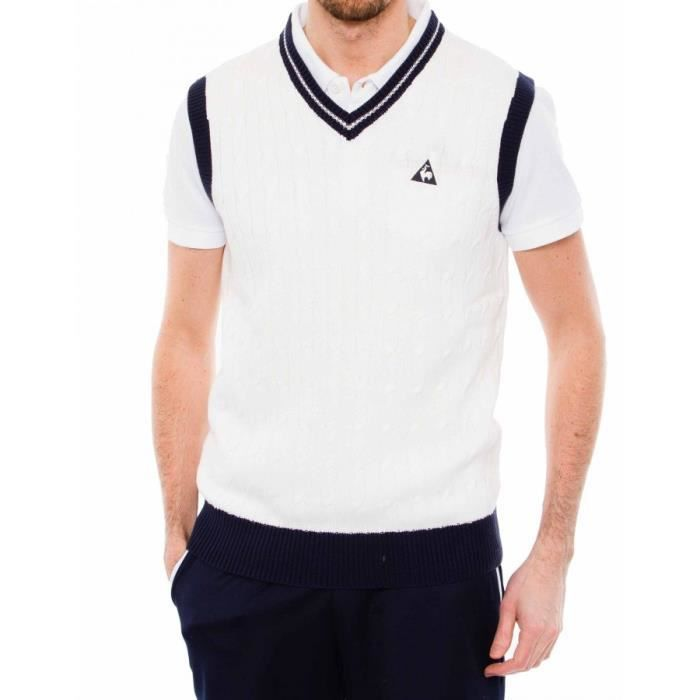 pull sans manche le coq sportif debus blanc achat vente pull cdiscount. Black Bedroom Furniture Sets. Home Design Ideas
