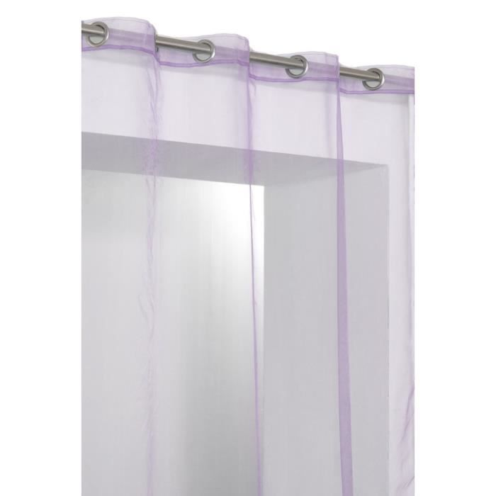 rideau voilage organza uni 8 oeillets violet mauve achat. Black Bedroom Furniture Sets. Home Design Ideas