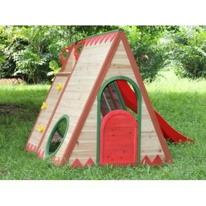 tipi en bois indiano toboggan et escalade l225 x l140. Black Bedroom Furniture Sets. Home Design Ideas