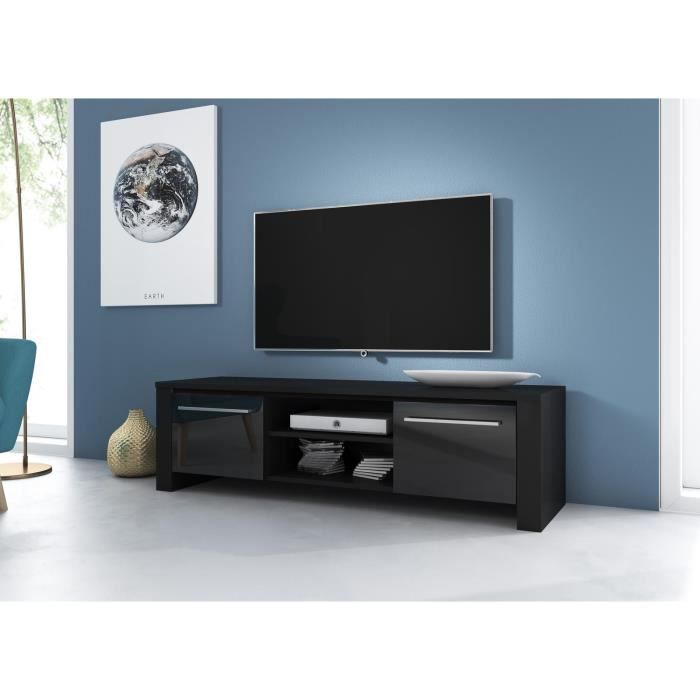 manhattan meuble tv noir mat avec noir laqu haute brillance eclairage la led bleue achat. Black Bedroom Furniture Sets. Home Design Ideas