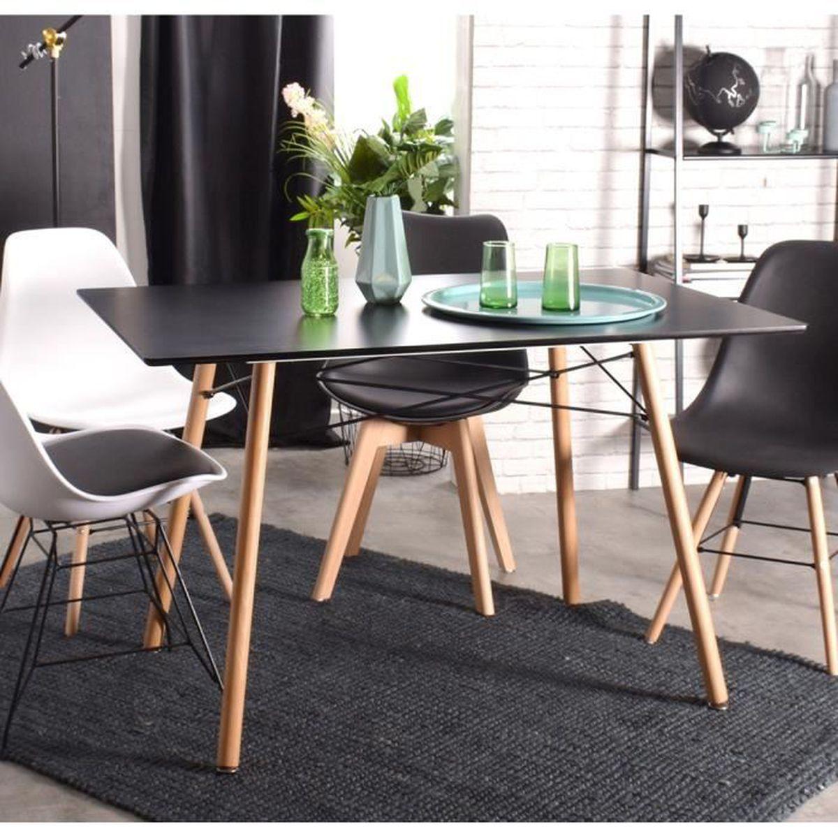 Cuisine Scandinave Blanc Et Bois table à manger 120x80x71cm blanche mdf bois scandinave