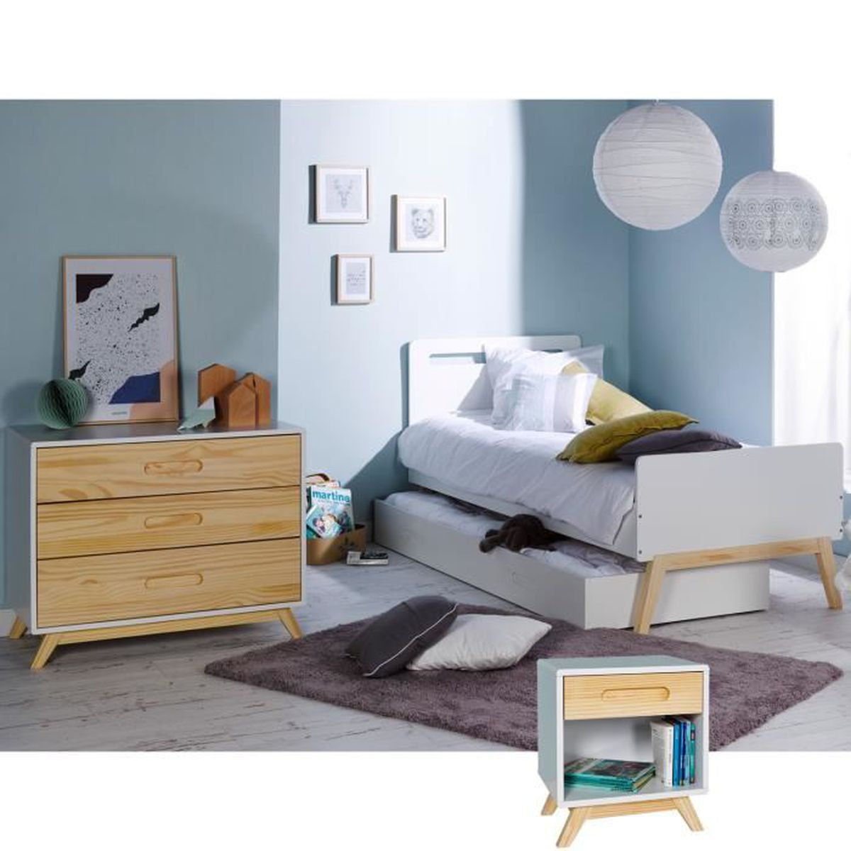chambre enfant scandinave lit 90x200 achat vente. Black Bedroom Furniture Sets. Home Design Ideas