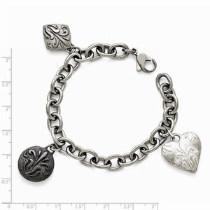 BRACELET - GOURMETTE Bracelet Titane - Argent Sterling Noir Ti hommes p