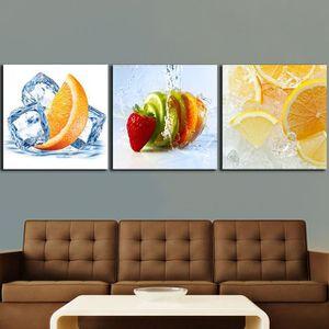 3pcs Citrons Peintures Aux Fruits D Orange Pour La Cuisine
