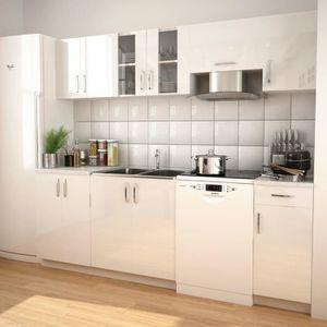 BUFFET DE CUISINE Ensemble d'armoires de cuisine 7 pcs avec hotte Bl
