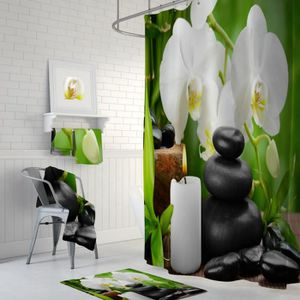 RIDEAU DE DOUCHE Rideau de douche ZEN bambous galets bougie fleurs
