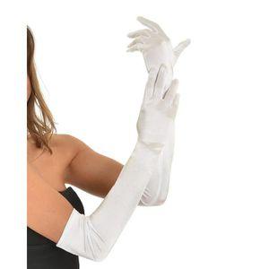 Femmes Dames Gants de Mari/ée Longs Chic Mitaines Pur en Satin El/égants Occasions Sp/éciales Wedding Golves Douce Gants pour Soir/ée Mariage Halloween Costume Bal Th/é/âtre