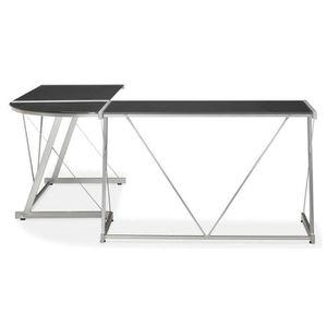 BUREAU  Bureau en métal gris et verre noir - L180 x L180 x