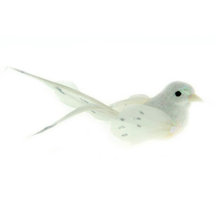 Oiseaux décoratifs Blanc (sur pince) 2 pièces - Artémio