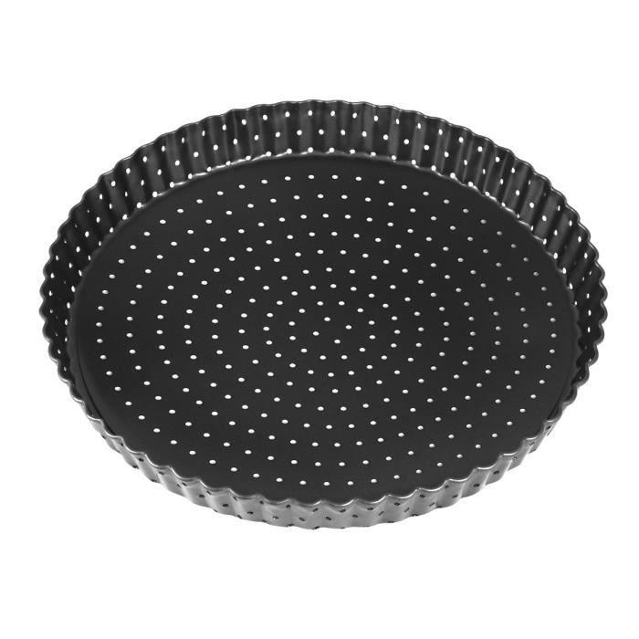 Plat à pizza antiadhésif avec trous Plateau de cuisson à tarte rond Moule à tarte inférieur amovible (grand, 9 pouces)