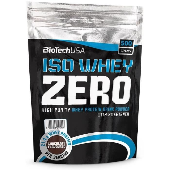 Multi-vitamines et minéraux BioTech USA Iso Whey Zéro 500 g saveur de chocolat 508985