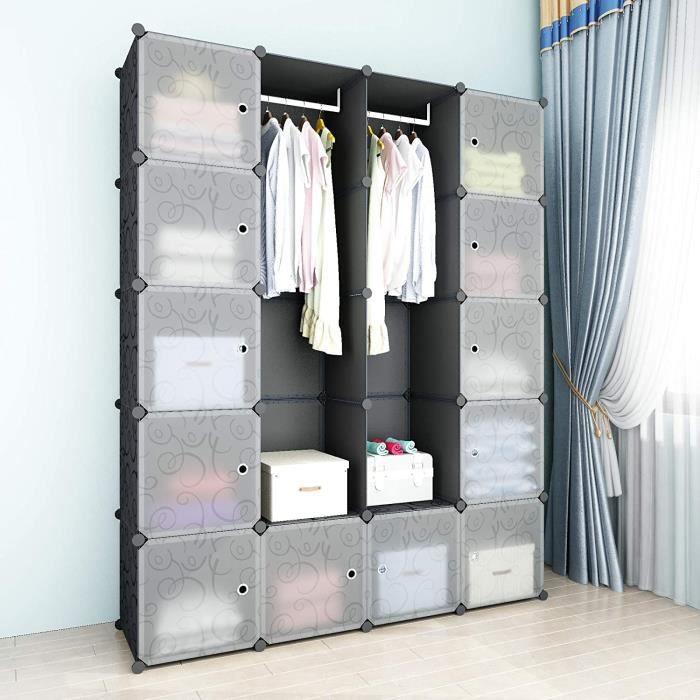 Armoire Pour Vetement, DIY Armoire Plastique Chambre, Armoire Enfant Adultes, Assemblage Facile Pour Vêtements, Accessoires, Jouets,