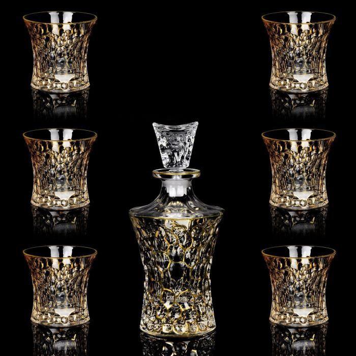 Ensemble de sept pièces en verre de cristal en verre de cristal de style bohème artisanal tchèque peint à la main