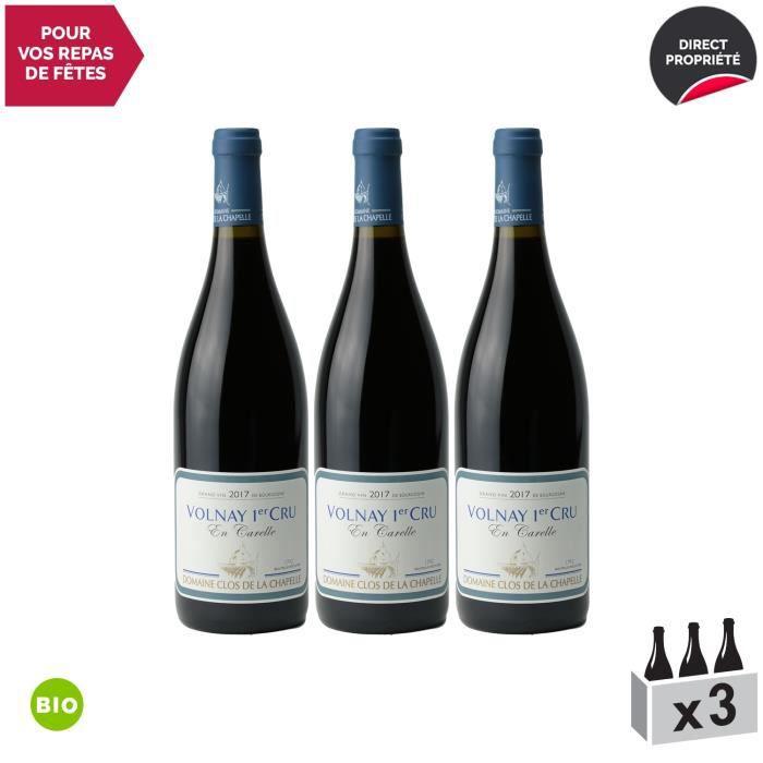 Volnay 1er Cru Carelle sous la Chapelle Rouge 2017 - Bio - Lot de 3x75cl - Domaine Clos de la Chapelle - Vin AOC Rouge de Bourgogne