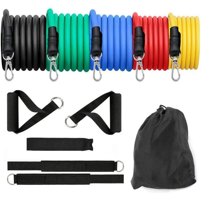 Bandes de Résistance Elastiques Musculation Bandes de Résistance Set Bands de Fitness Elastique Musculation en Latex 100LBS 11PCS