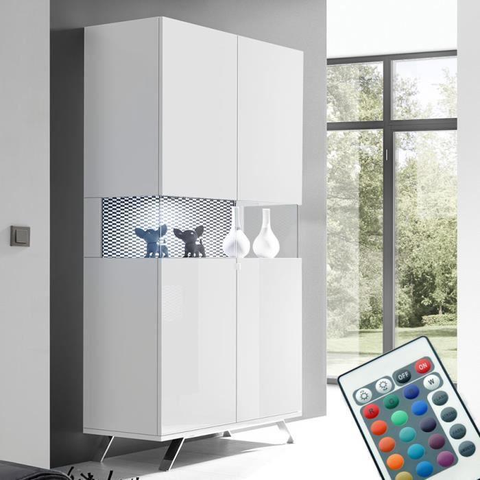Vaisselier LED laqué blanc et noir design CASTELLI 3 Blanc L 93 x P 50 x H 207 cm