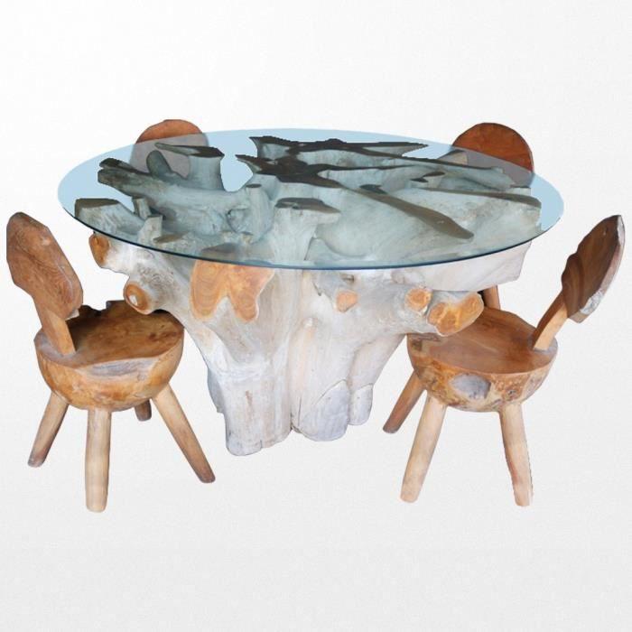 Table ronde en bois et son plateau de verre