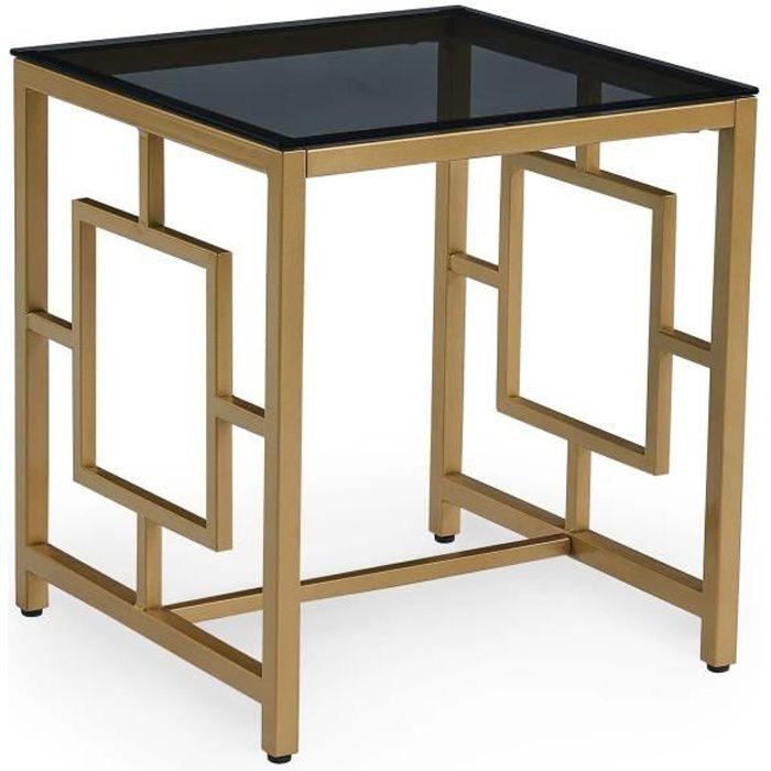 Table basse design en verre noir et métal doré carrée PABLO