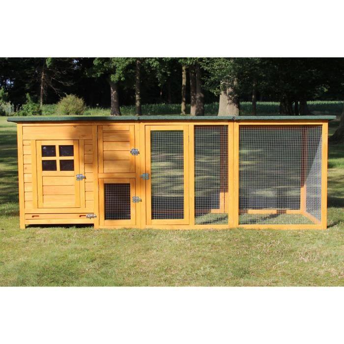 Poulailler en bois pour jardin extérieure poules cage canard équipé 2 perchoirs 215 x 80 x 68 cm FLEXI 149