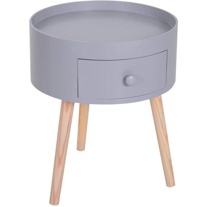 Chevet Table de Nuit Ronde Design scandinave tiroir Bicolore Pieds effilés inclinés Bois Massif chêne Clair Gris[100]