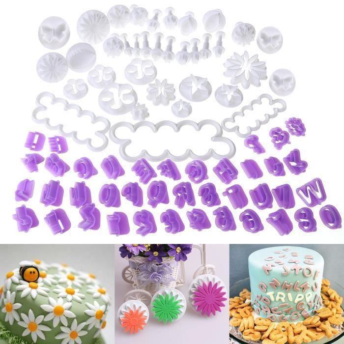 Ensemble de 76 ustensiles pour décoration de gâteau/emporte-pièces avec poussoirs