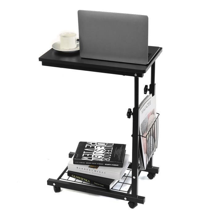 Table de Lit et Canapé Table Ordinateur portable Bureau Informatique Roulette Hauteur Réglable Support PC NOIR