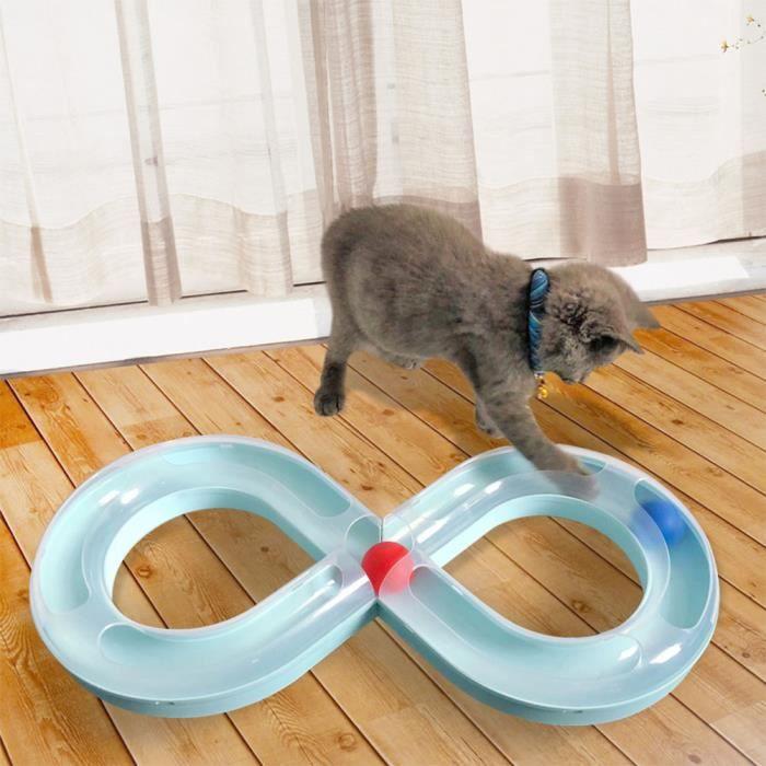 Jouet pour chat, Circuit Jeu chat, Circuit Jeu chat avec Balle, Jouet pour chat, chien, animal de compagnie - Bleu