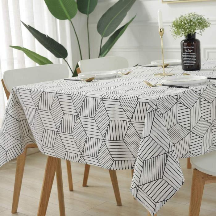 NAPPE DE TABLE SJHP Tissu Bicolore Noir et Blanc, Nappe en Coton et Lin imprim&eacutee, Nappe m&eacutenag&egravere Simple, Ho424