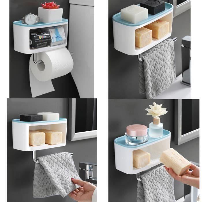support porte papier toilette crochet serviette Etagère de Douche Murale Salle de Bain Rangement savon Barre Stockage Organiseur WC