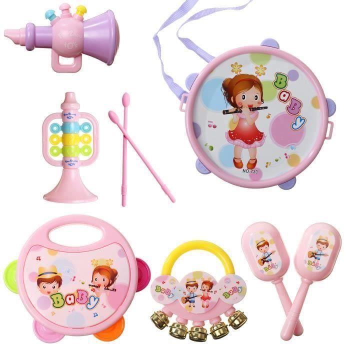 Ensemble 7PCS Tambour Hochet Main Musical Jouet Instruments de Musique Percussion Rose Tambour pour Bébé Enfant Wir93