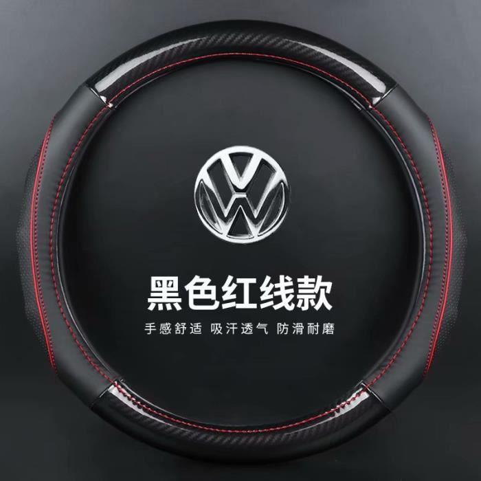 Couvre volant,Voiture en cuir véritable en Fiber de carbone couvre volant pour Volkswagen VW Atlas Teramont - Type O-red no logo