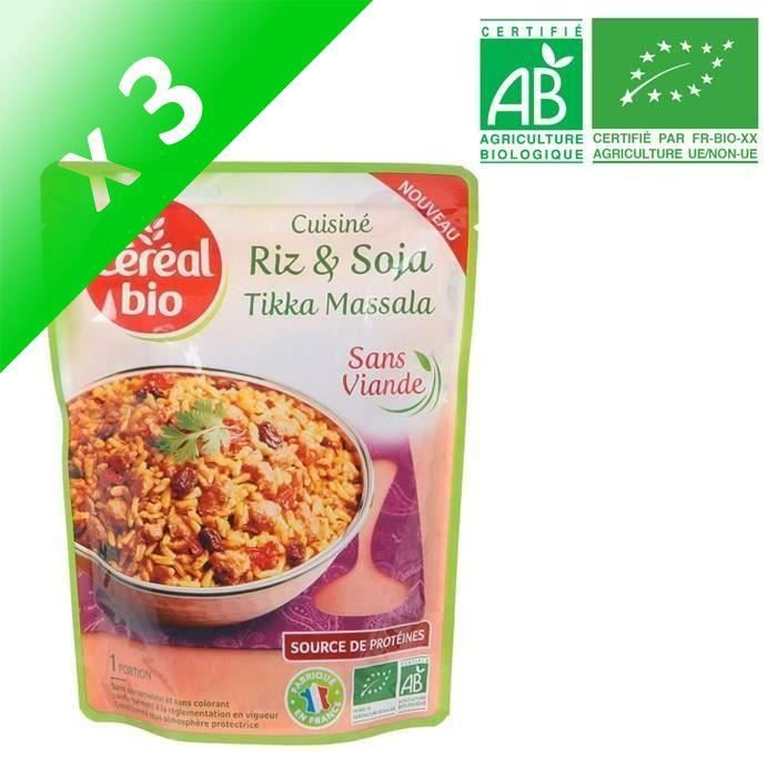 [LOT DE 3] Riz soja tikka massala 220 g Cereal Bio
