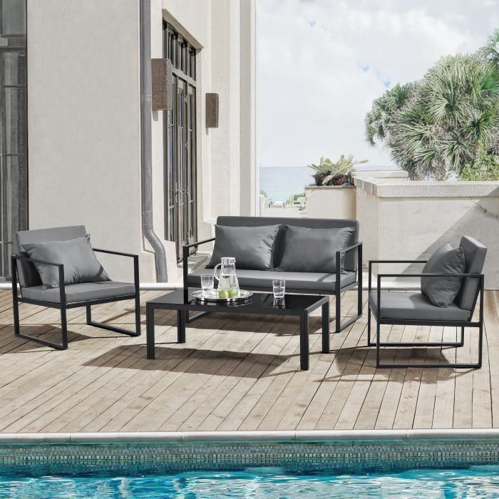 [casa.pro]® Salon de jardin Ensemble de jardin Table basse avec canapé et chaises extérieure Métal Verre Polyester Noir