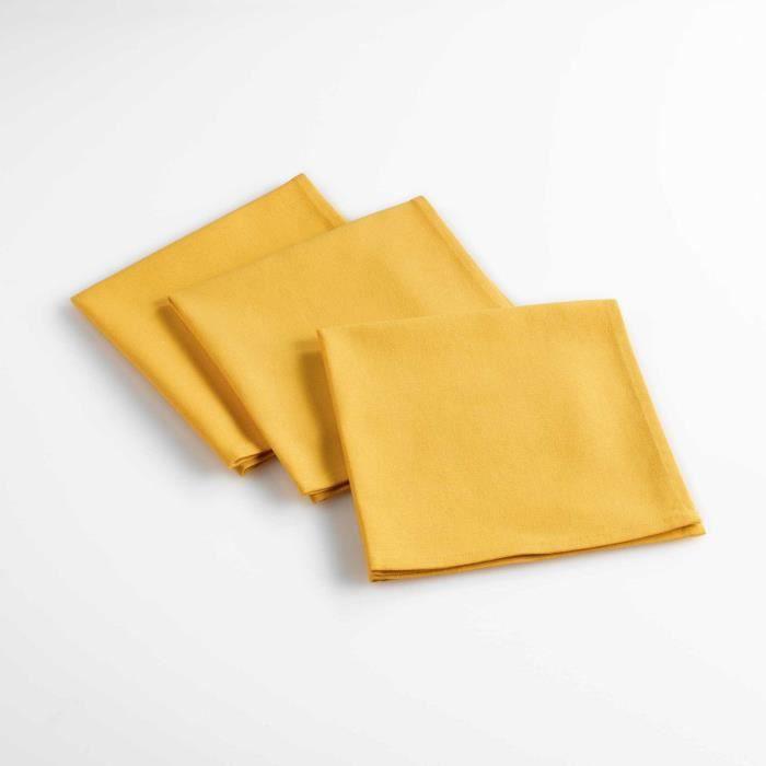 Lot de 3 serviettes de table 40 x 40 cm coton uni aubeline Jaune