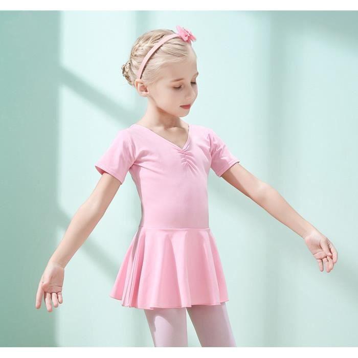Bébé Fille Justaucorps de Classique Danse Performance Ballet Tutu Robe avec Manches Courte Enfant 3-12 Ans(100cm-170cm)- Rose